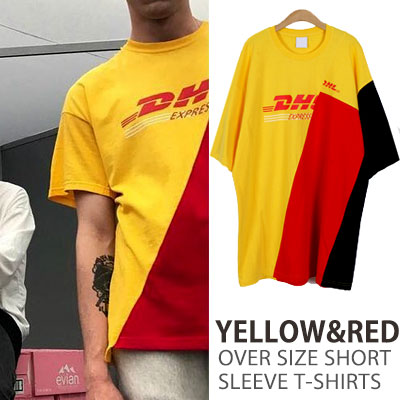 YELLOW&RED OVER SIZE SHORT SLEEVE T-SHIRTS