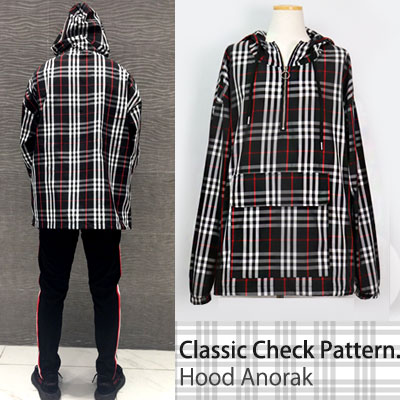 ★26%OFF★CLEARANCE SALE★CLASSIC CHECK PATTERN HOOD ANORACK-BLACK ver.★26%OFF