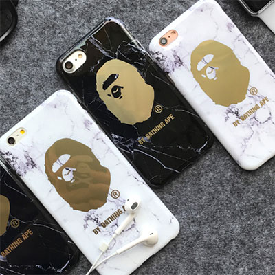 GLOSSY MARBLE GOLD GORILLA PRINT PHONE CASE/2color/2type