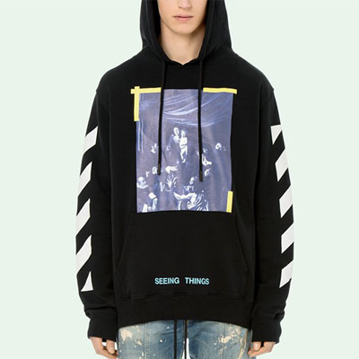 YELLOW TAPE POINT BLUE LETTERING PULLOVER HOODIE