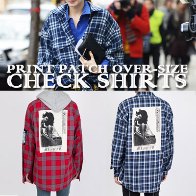 [unisex]PHOTO PATCH OVERSIZE CHECK SHIRTS(2color)