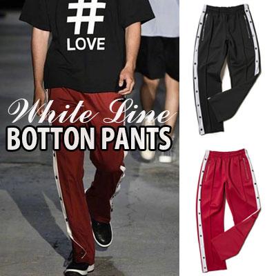 [Unisex]BTS V STYLE! WHITE LINE BOTTON PANTS(2color)