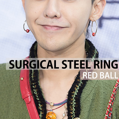 [unisex][2ea/1set]BIGBANG G-DRAGON/GD st. SURGICAL STEEL RING RED BALL