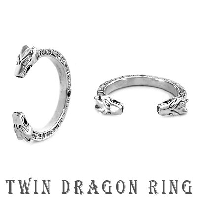 [unisex]TWIN DRAGON HEAD RING(25号)