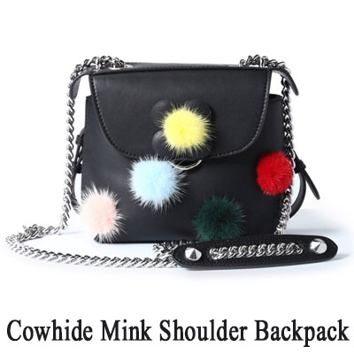 COWHIDE MINK SHOULDER BACKPACK