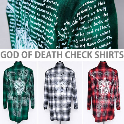 [unisex]GOD OF DEATH&LETTERING TATAN CHECK SHIRTS(3color)