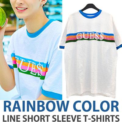[UNISEX] wanna one Yoon JiSung st.RAINBOW COLOR LINE SHORT SLEEVE T-SHIRTS