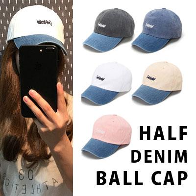 [unisex]HALF DENIM BALL CAP(5color)