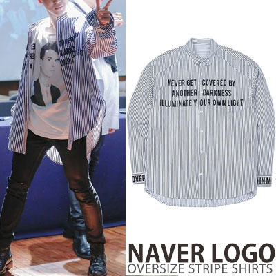 [unisex]BTS JiMin st.NEVER LOGO OVERSIZE STRIPE SHIRTS(2color)
