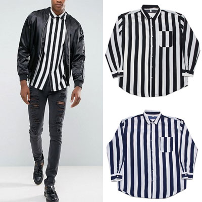 [UNISEX] WHITE & BLACK DICK STRIPE SHIRTS(2color)