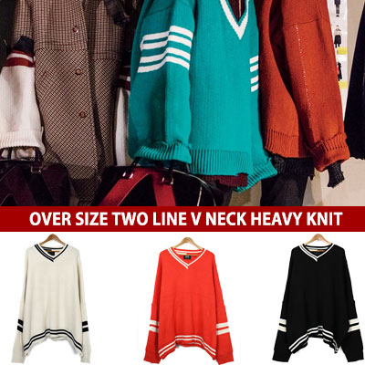 [UNISEX] OVER SIZE TWO LINE V NECK HEAVY KNIT(3color)