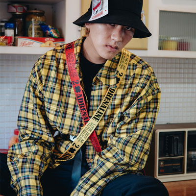 【2XADRENALINE】OVERSIZE CHECK SHIRTS-YELLOW