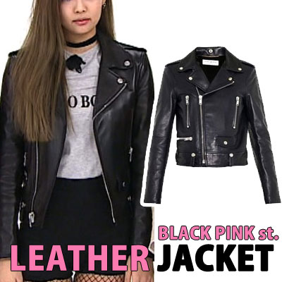 (Ladies size)BLACK PINK Jennie cloth sponsorship,EXO,GD st. SIDE POCKET LEATHER RIDER JACKET(3size)
