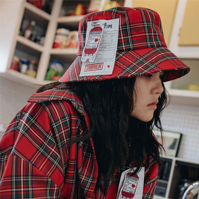 【2XADRENALINE】Check Bucket Hat / Red