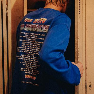 【2XADRENALINE】Back Printing Long Sleeve T- Shirt / Blue