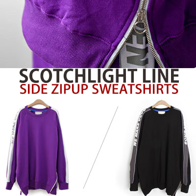 [UNISEX] SCOTCHLIGHT LINE SIDE ZIPUP SWEATSHIRTS(2color)