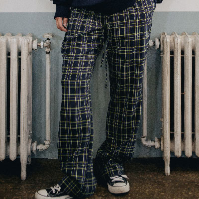 【2XADRENALINE】Basic Checked Pants / Navy