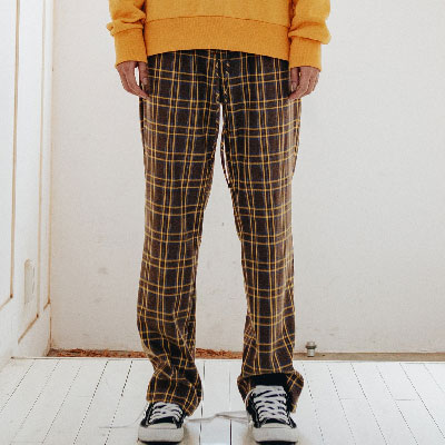 【2XADRENALINE】Basic Checked Pants /Brown