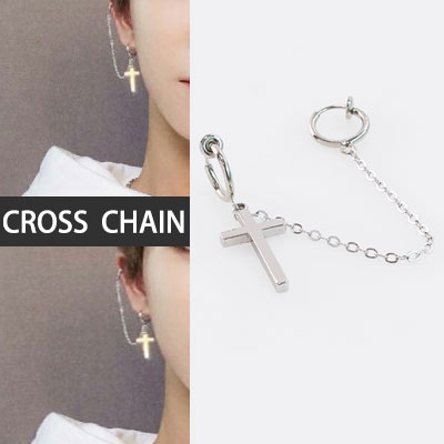[UNISEX] [1ea]seventeen st.CROSS&LONG CHAIN PIERCING(3type)