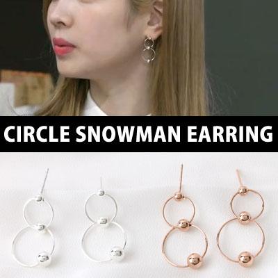 [silver92.5] TWICE DaHyun st./CIRCLE SNOWMAN EARRING(2color)