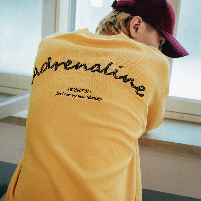 【2XADRENALINE】Chain Back Point Sweat Shirt /Mustard