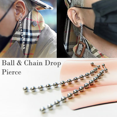 [UNISEX] (1ea,SET-5%)WINNER MINO st. BALL&CHAIN DROP PIERCING(3type)