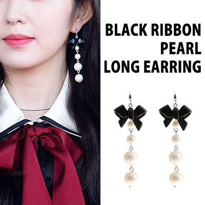 RED VELVET IRENE original item. BLACK RIBBON PEARL LONG EARRING