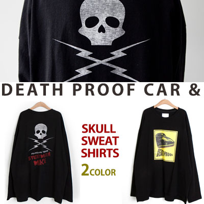 [UNISEX] DEATHPROOF CAR&BACK SKULL PRINT SWEATSHIRTS(2color)