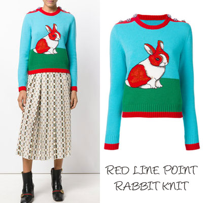 RED LINE POINT RABBIT KNIT