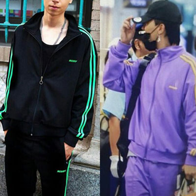 [UNISEX] (SET-5%)GD,ZICO,MINO,IU,KANG DANIEL,ROY KIM st. PURPLE&BLACK JERSEY PANTS SET(2color)
