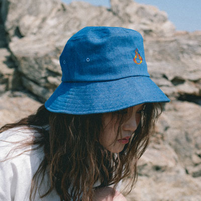 【2XADRENALINE】Flame Embroidery Bucket Hat/BLUE