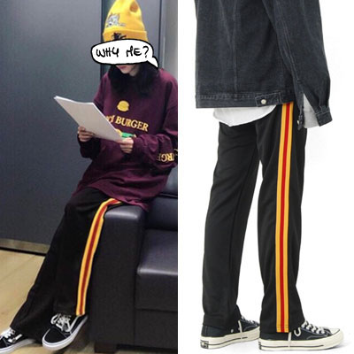 [UNISEX] WINNER MINO,SANDARA,SMTM6 st. UNIQUE YELLOW & RED LINE TRACK PANTS(2color)