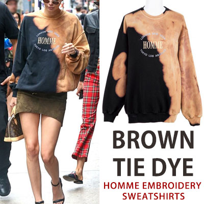 ♠Special Price ♠ [UNISEX]BIGBANG SOL(taeyang)st. Kendall Jenner st.BROWN TIE DYE HOMME EMBROIDERY SWEATSHIRTS