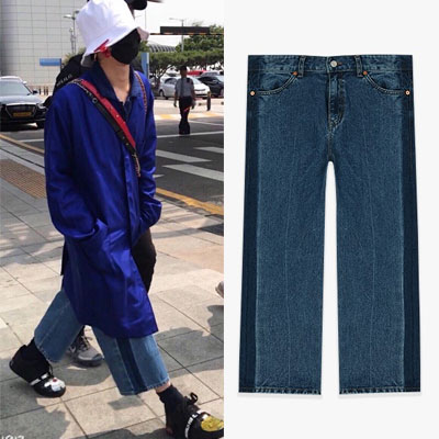 [UNISEX] BIGBANG g-dragon GD st.SIDE LINE WIDE CROP JEANS(2size)
