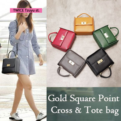 TWICE TZUYU st. GOLD SQUARE POINT CROSS & TOTE BAG