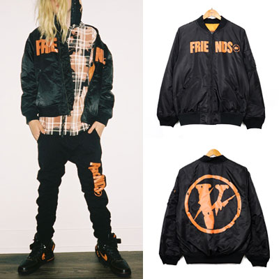 [UNISEX] ORANGE FRIENDS LOGO MA-1 JACKET