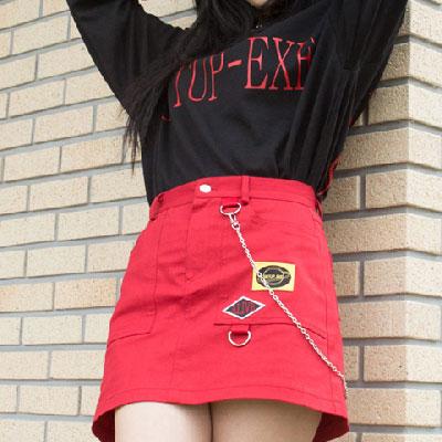 [SETUP-EXE]Chain Skirt - Red
