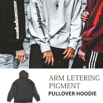 [UNISEX] ARM LETTERING PIGMENT PULLOVER HOODIE(2color)