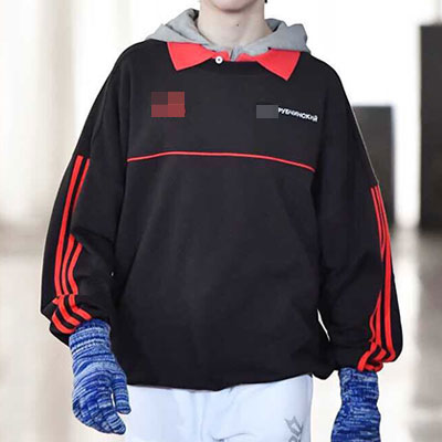 [UNISEX] ARM&CHEST RED LINE POINT SWEATSHIRTS(2color)