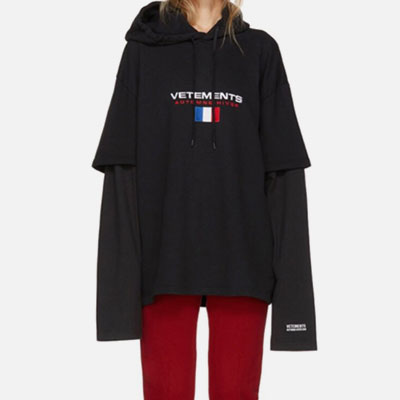 [UNISEX] FRENCH FLAG EMBROIDERY POINT LAYERD HOODIE(2color)