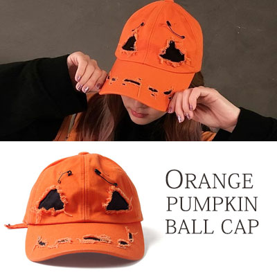 [UNISEX] SANDARA st/Halloween/pumpkin/ORANGE PUMPKIN DAMAGE BALL CAP