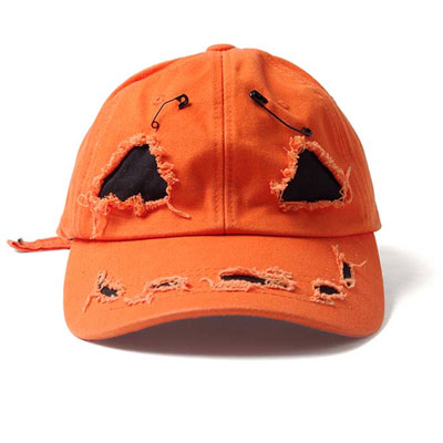 [UNISEX] SANDARA st/Halloween/pumpkin/ORANGE PUMPKIN DAMAGE BALL CAP