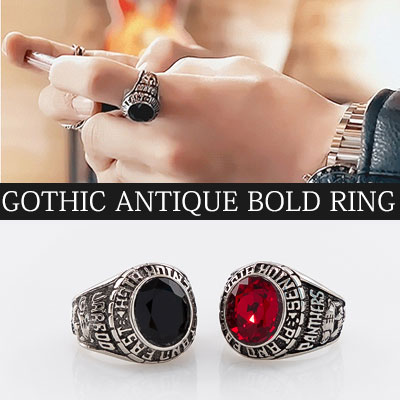 [UNISEX] [SURGICAL STEEL] WANNA ONE KANG DANIEL STYLE! GOTHIC ANTIQUE BOLD RING(2color)