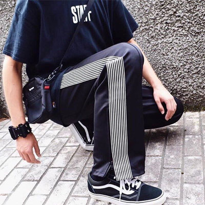 [UNISEX] MULTI LINE DICK BAND TRACK PANTS(2color)
