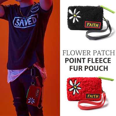 BIGBANG GD, SOL style/FLOWER PATCH POINT Fleece Faux Fur Fabric POUCH(2color)