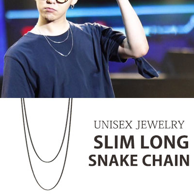 [UNISEX] [1ea]BIGBANG G-DRAGON/GD SLIM LONG SNAKE CHAIN NECKLACE (70cm)
