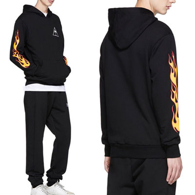 [UNISEX] PARM TREE & ARM FIRE PRINT PULLOVER HOODIE
