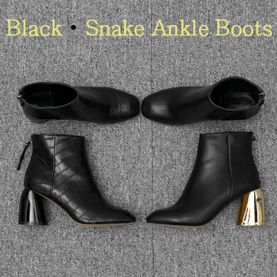 【RANG SHE】[22.5~25.0cm]BLACK SNAKE ANKLE BOOTS(2color)
