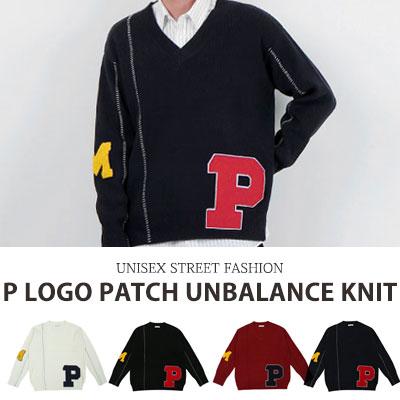 [UNISEX] P LOGO PATCH UNBALANCE KNIT(4color)