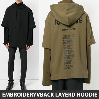 [UNISEX] BACK LOGO & LETTERING EMBROIDERY LAYERD HOODIE(2color)